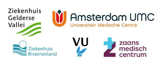 ziekenhuizen van de timelapse studie: AmsterdamUMC, Gelderse Vallei, Rivierenland, VU en Zaans medisch centrum